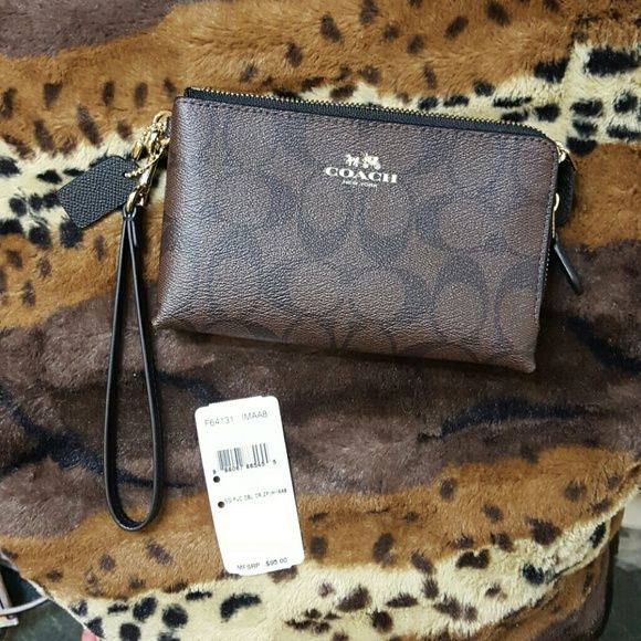 Brand New 2 Zipper Coach Wristlet Brand new with tags. Feel free to make an offer-no lowballs. Anything less then 30% is a low ball   ✔Expect Almost All Offers! ✔Great Bundles! (Even better then what's listed, just ask ??) ✔Want to Sell Now! ✔SALES ALL THE TIME! ✔I Follow Back! ✔Cheaper on other sites! Trades! No PayPal Coach Bags Clutches & Wristlets