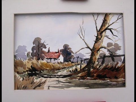 watercolor painting loose style of a country lane  by Alan Owen