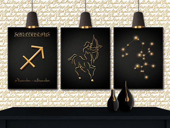 Sagittarius Constellation Art Print Printable Wall Art Wall Decor Zodiac Art Horoscope Print Sagit Zodiac Art Constellations Art Print Printable Wall Art