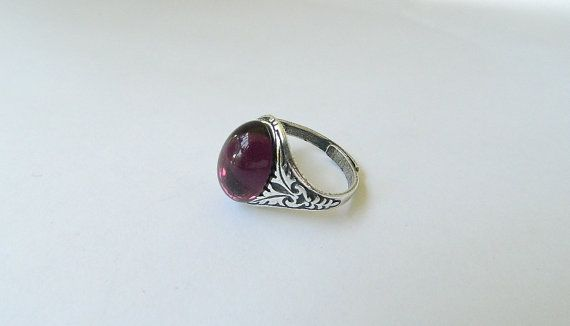 Silver amethyst adjustable ring by JewelrybyDecember67 on Etsy, $18.00