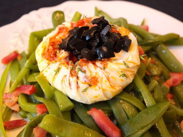 Cocinando con Lola García: Huevos escalfados con judías verdes