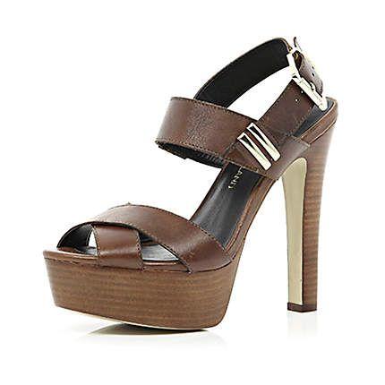 Dark brown strappy platform sandals £25.00. Gotta have em!