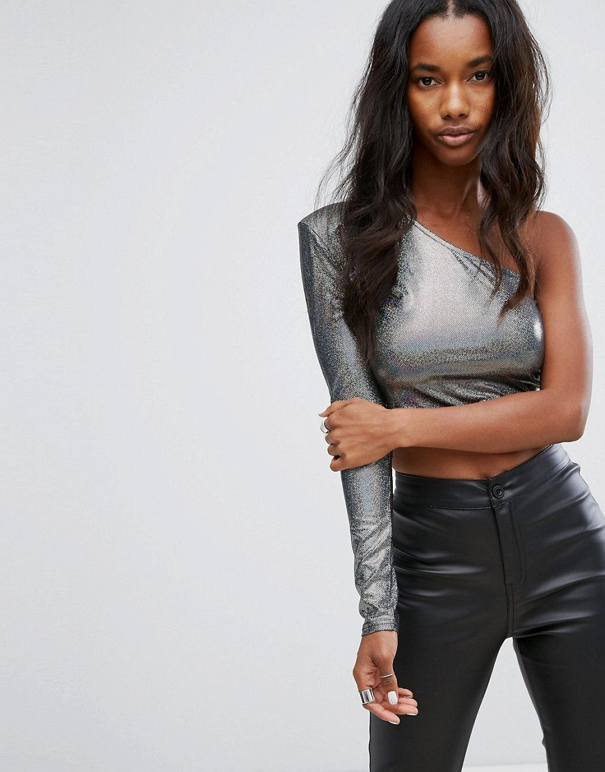 cd1ab8dc8e PrettyLittleThing One Shoulder Metallic Crop Top - Silver