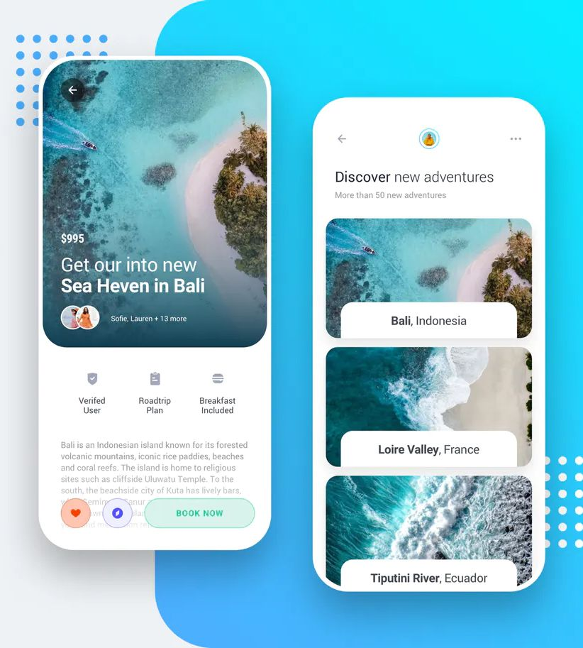 Travel & Booking App iOS & Android UI Kit Template - Design Template Place