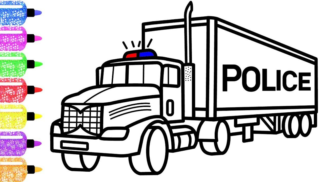 How To Draw A Police Truck For Kids Race Coloring Page For Children New Coloring Book For Kids Truck Coloring Pages Police Truck Monster Trucks