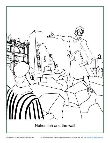 Nehemiah And The Wall Coloring Page Sunday School Coloring Pages