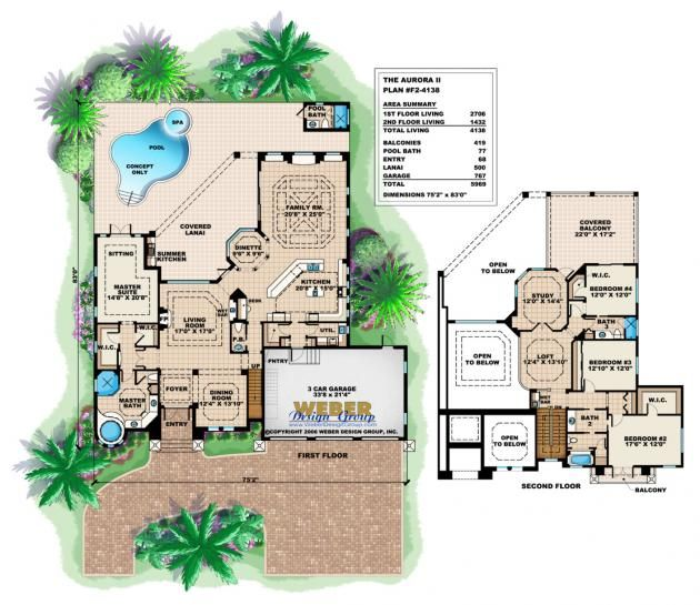 Mansion Mediterranean 32157aa Floor Plan: Mediterranean House Plan: Coastal Mediterranean Tuscan
