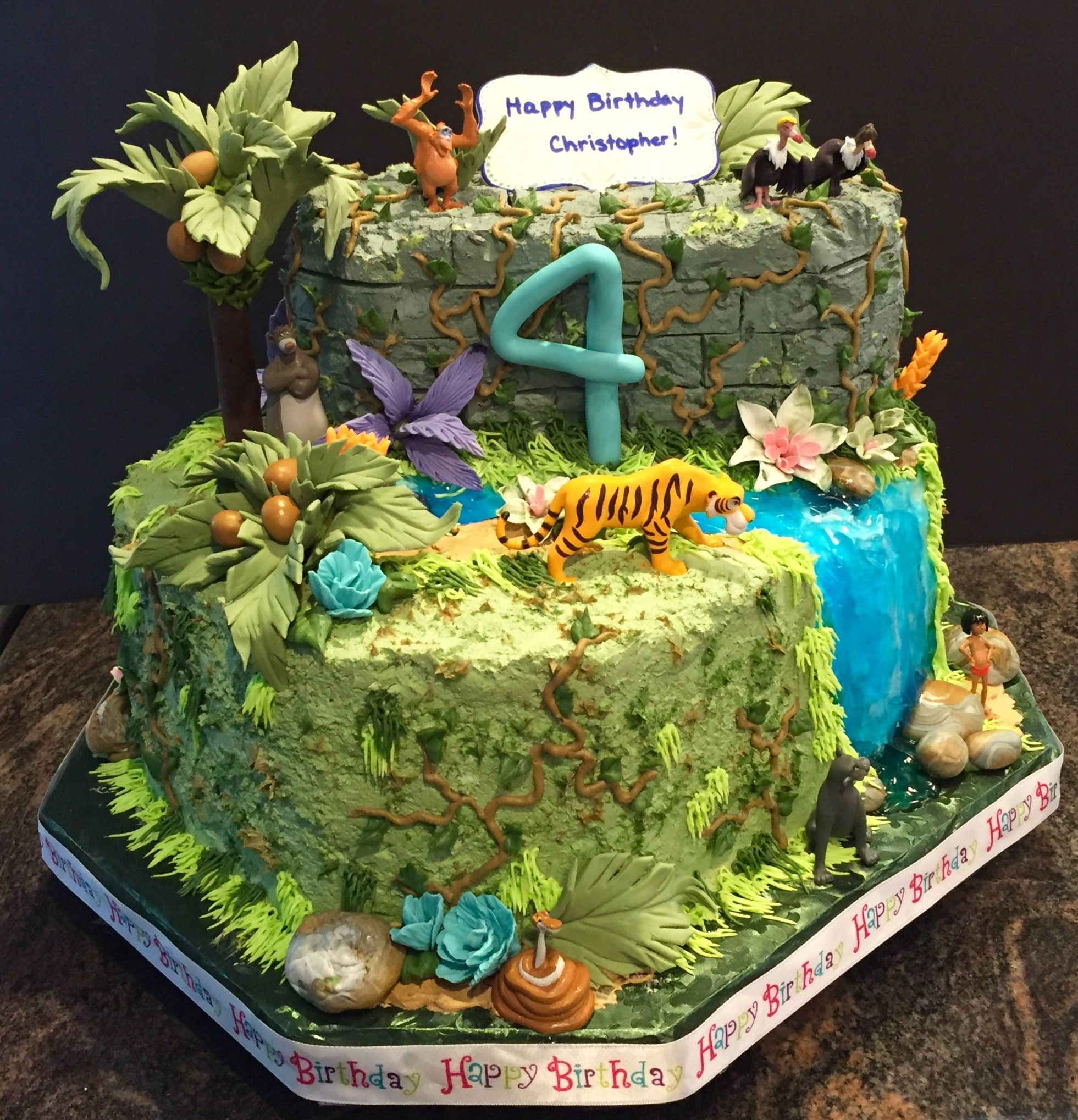 Jungle Book Theme Cake Whipped Cream Icing With Gum Paste
