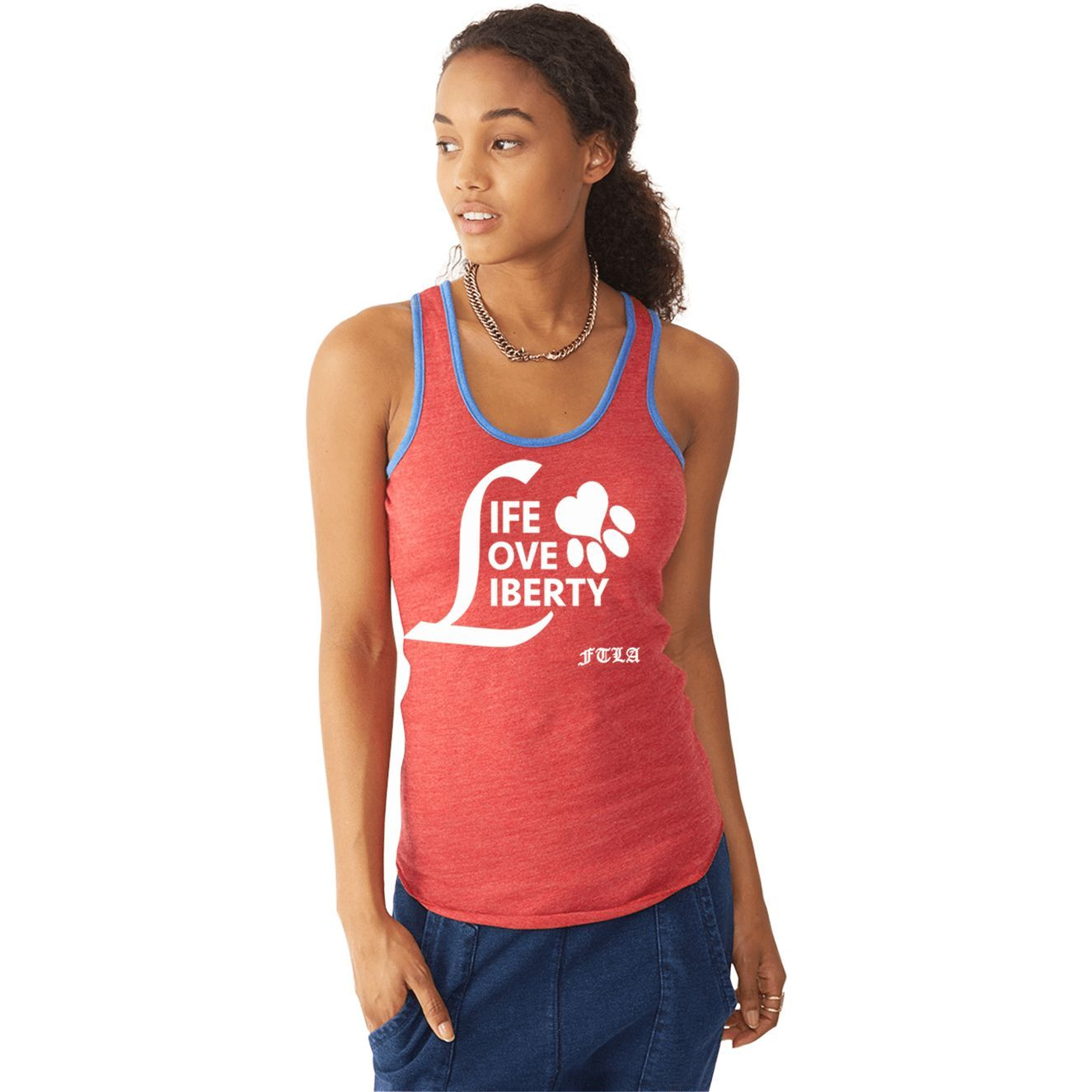 LIMITED EDITION Beagle Freedom Project Eco-Jersey Ringer Racerback Tank - Life Love Liberty