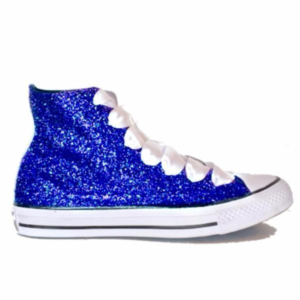 d6b6cd1d902 Womens Sparkly Glitter Converse All Stars Royal Blue High Top wedding bride  shoes