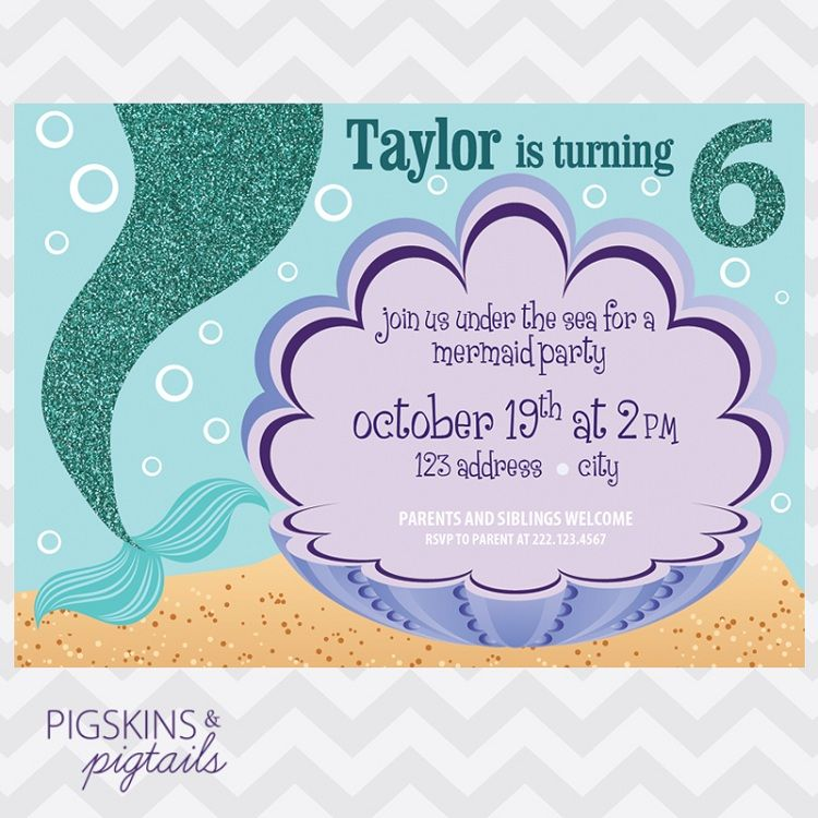 Mermaid Birthday Invitations Template