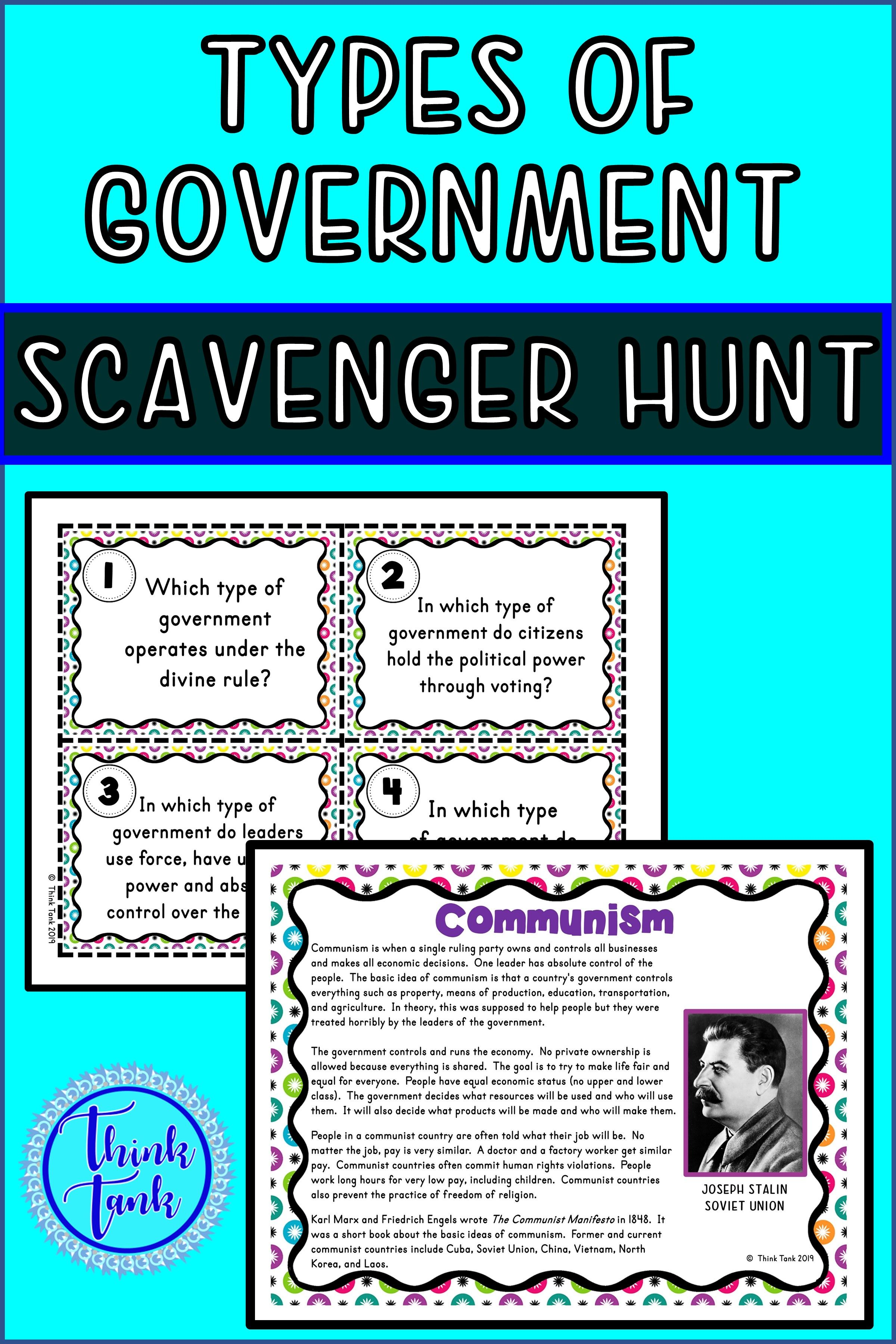 Types Of Government Scavenger Hunt Forms Of Government With