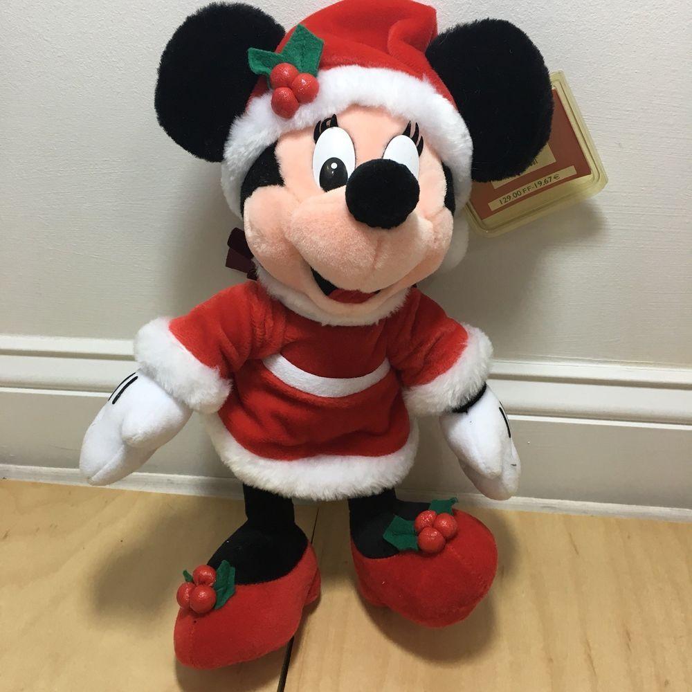 Christmas Minnie Mouse Plush.Disneyland Paris Christmas Minnie Noel Minnie Mouse Plush