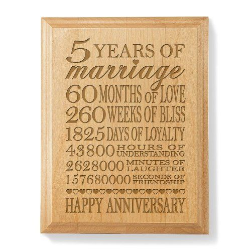 Our 5th Anniversary Wooden Plaque by Kate Posh | 5th Wedding Anniversary Gift Ideas for Wife