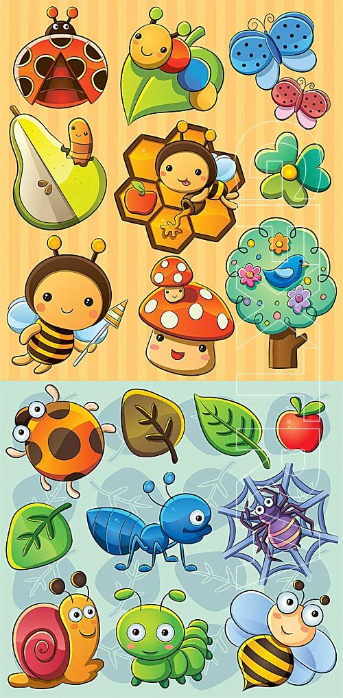 Cartoon cute insects » Download Graphic GFX Stock Vector Image PSD