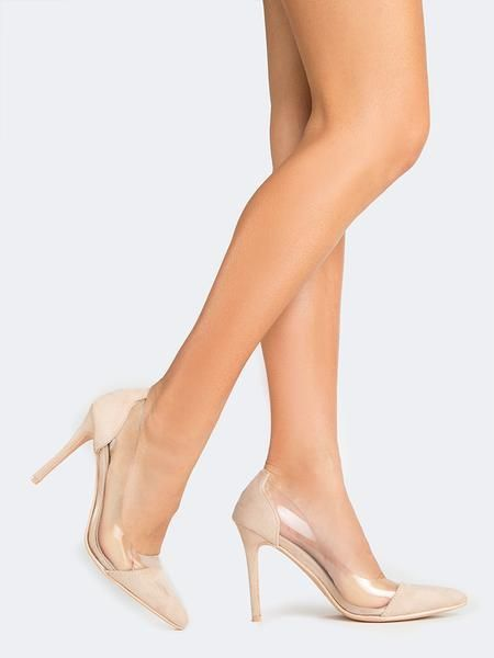 c1279807f27 Clear Pointed Toe Pumps From J.Adams in nude suede. On ZOOSHOO and also  available in 7 other colors!