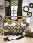 Look at this new Glenna Jean bedding set%21 The Urban Cowboy is the perfect design for a contemporary young fellow. The combination of browns and greens not only make it ideal for boys, but it also makes it a whole lot of fun. Includes quilt, bumper, fitted sheet, crib skirt