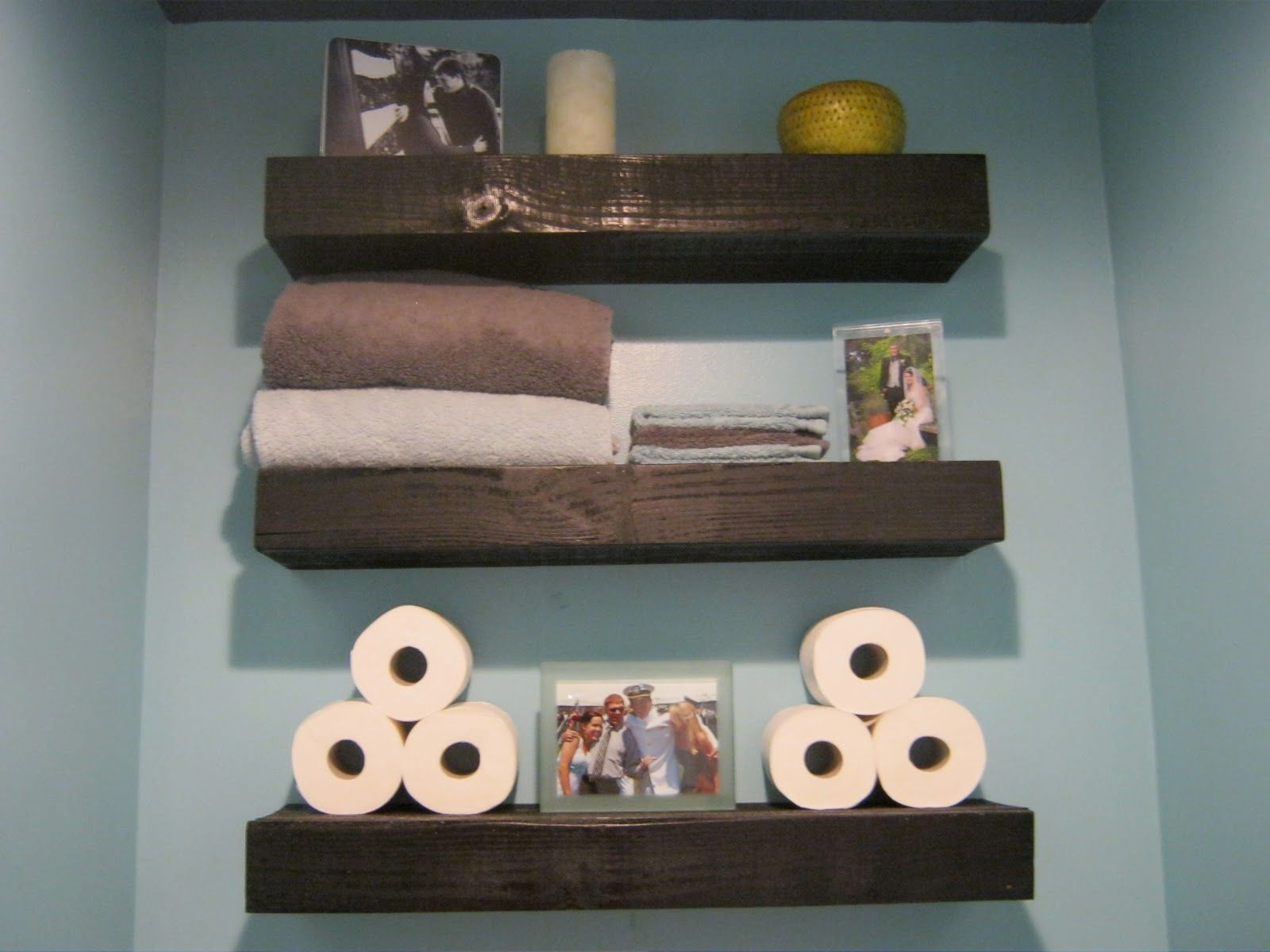 easy diy bathroom projects | wood floating shelves, bathroom gray