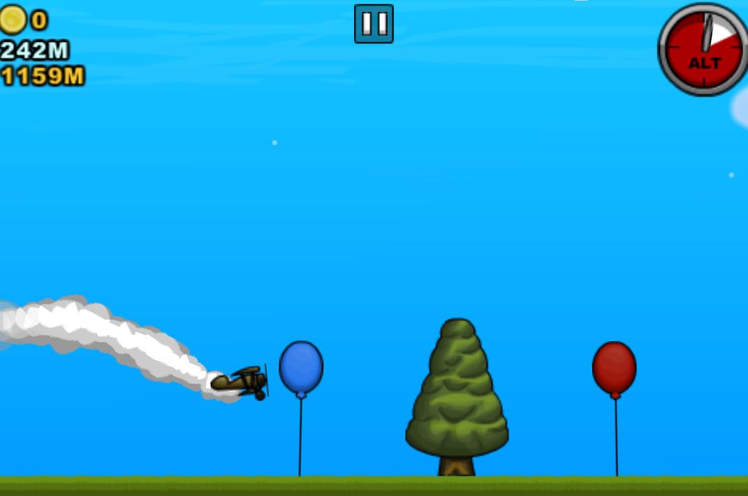 Maneja bien tu avión y planea en el cielo para poder pasar en las dianas y así poder obtener puntos, ten cuidado en no chocar con los arboles y otros obstáculos, lo mas difícil es pasar con los globos.