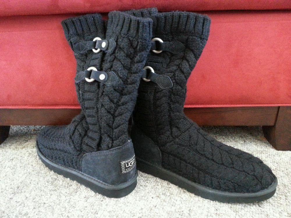 eb8b130890a NEW WOMEN'S UGG AUSTRALIA TULAROSA ROUTE CABLE BLACK BOOTS 3177 SZ ...