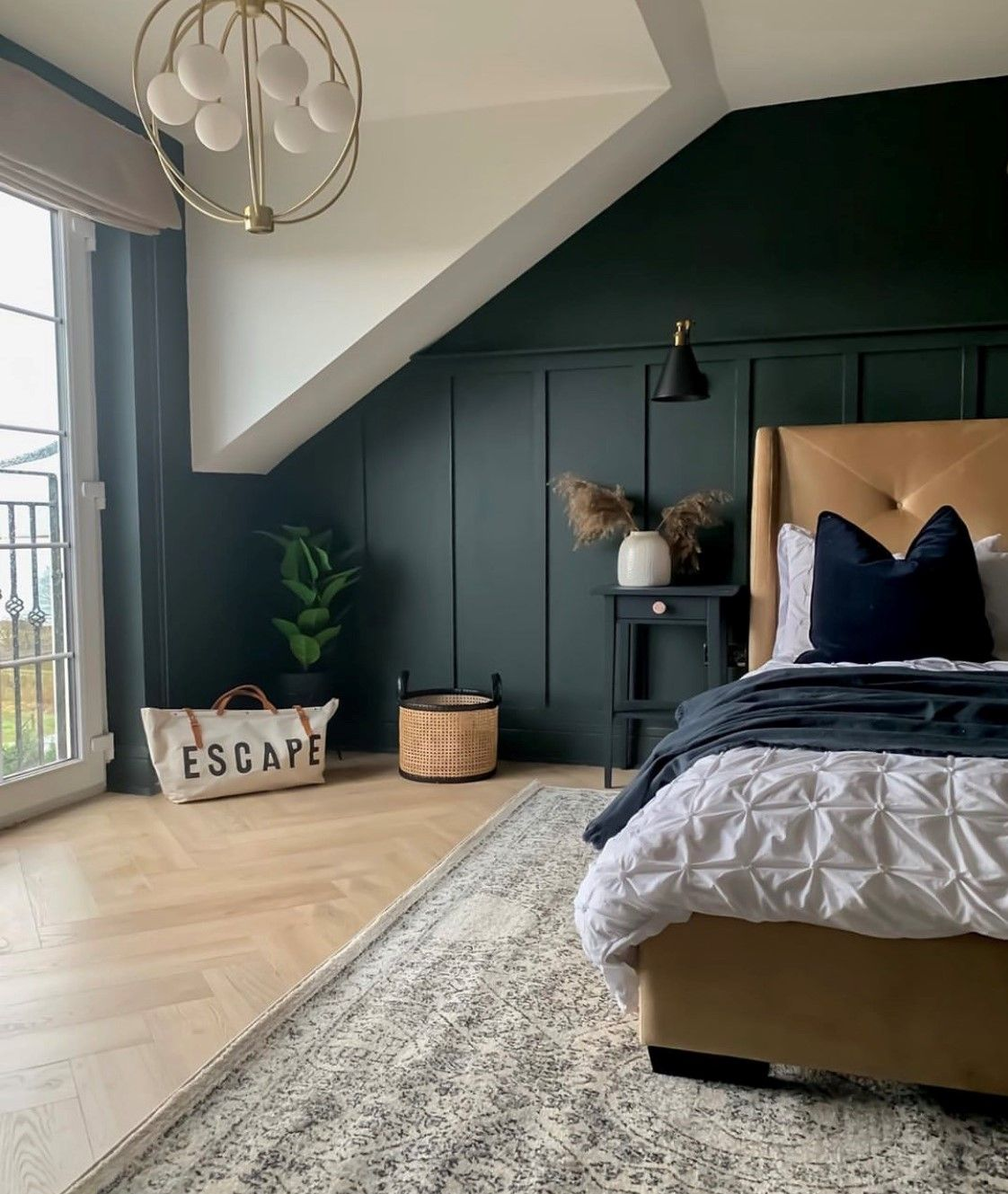 Herringbone Flooring 🤝 Bedroom Interiors  This bedroom uses our new range of Herringbone Laminate, meaning it's highly durable and cost-effective, while looking like real wood!   📸: mrs_macs_home 🛒: Herringbone Laminate - Elegant Oak  Order your free samples today!  #LaminateFlooring #Herringbone #HerringboneFlooring #Bedroom #BedroomInterior #WoodFlooring