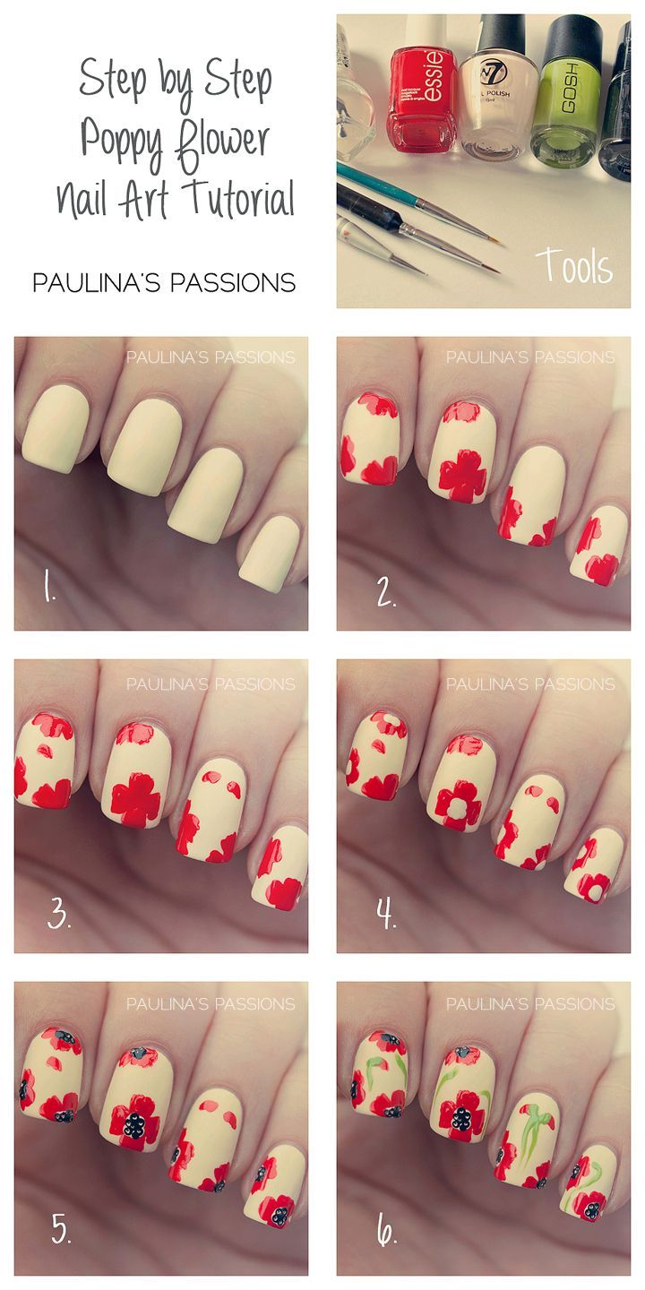 Step By Step - Poppy Flower Nail Art Tutorial | Nails | Pinterest ...