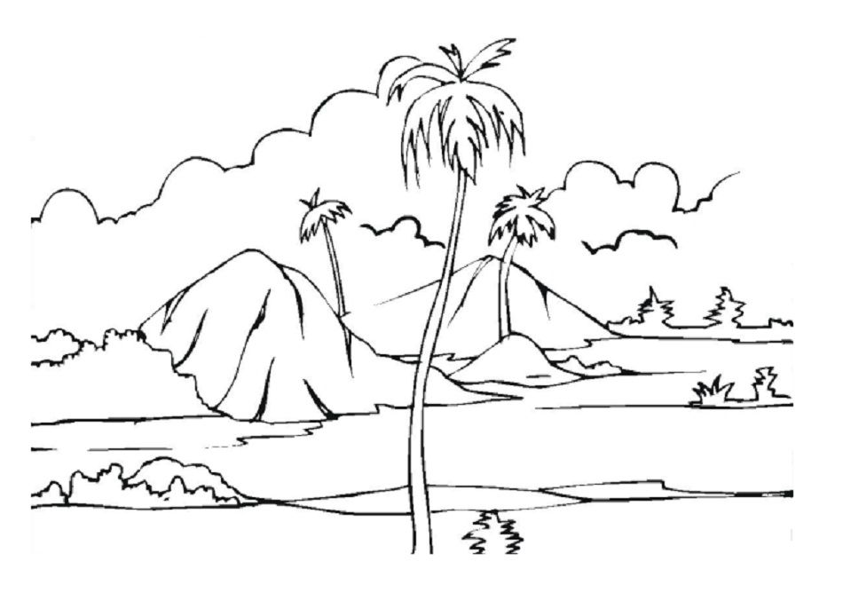 tropical island coloring page | school | pinterest - Tropical Coloring Pages Print