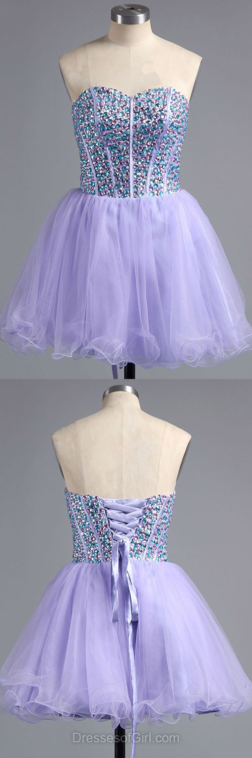 Beaded Prom Dresses, Lilac Formal Dresses, Sweetheart Evening Dresses, Short Homecoming Dresses, Tulle Graduation Dresses