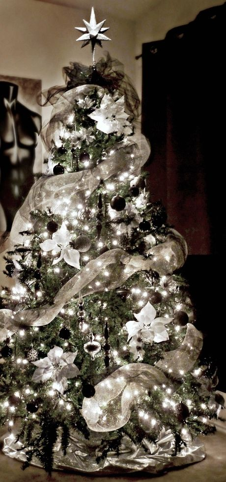 Black, white, silver, and gray Christmas Tree.