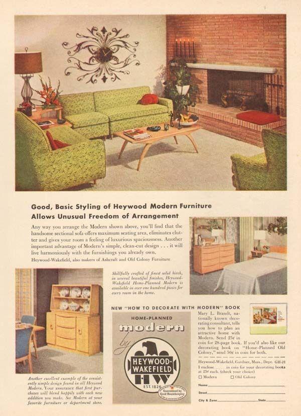 1950s vintage HEYWOOD WAKEFIELD Modern Furniture SOFA Coffee Table ...