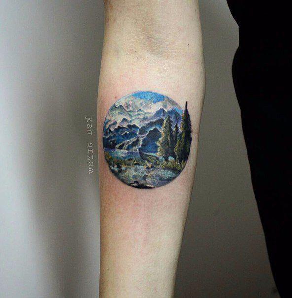 small landscape tattoos sleeve landscape tattoo