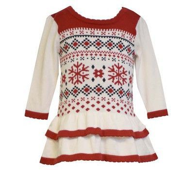 9972c8fa9 Toddler Girls Red Ivory Snowflake Sweater Dress by Bonnie Jean ...