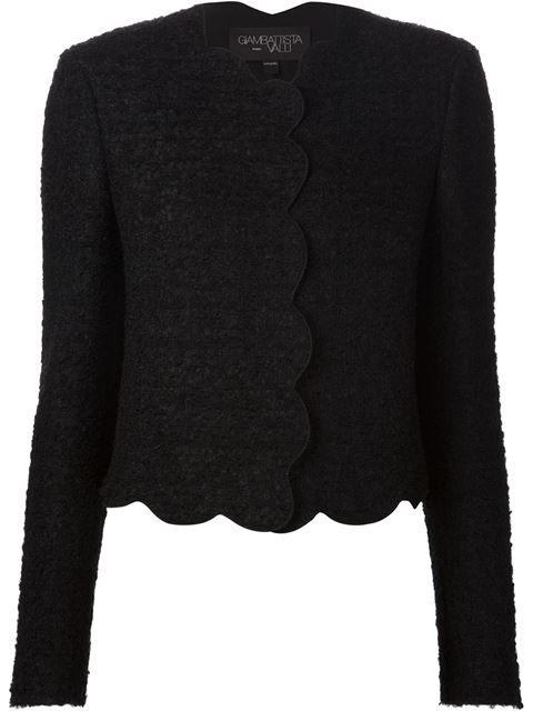 Shop Giambattista Valli scalloped hem cropped jacket
