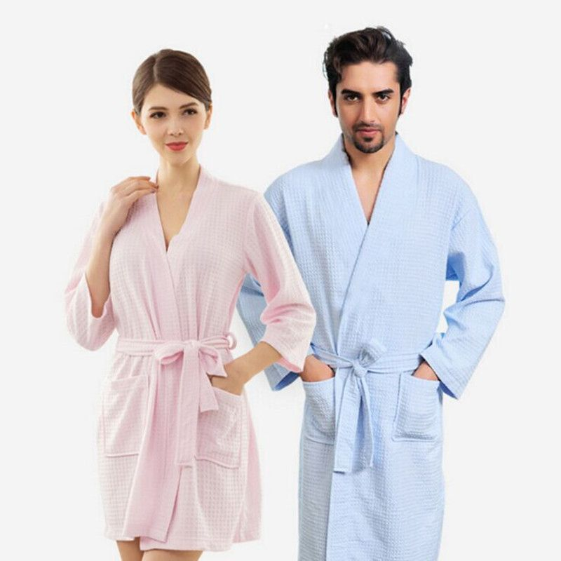 fa1d7697ff1 Lovers Kimono Waffle Sleepwear Bath Robe Femme Sexy Peignoir Women Dressing  Gown Men Navy Long Bathrobe Thin Bridesmaid Robes