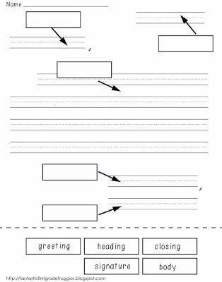 label parts of a friendly letter freebie