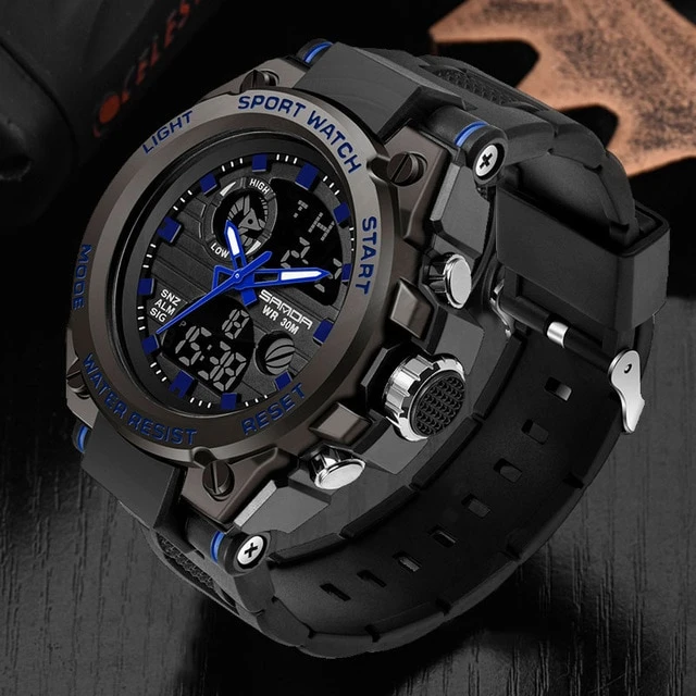 Men Watches Rugged Sport Style Wristwatch Dual Display Waterproof In 2020 Wristwatch Men Watches For Men Sport Watches