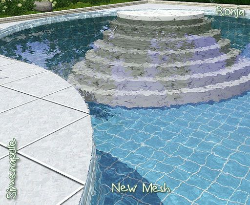 Sims 3 downloads pool stairs simsational pinterest for Pool design sims 3