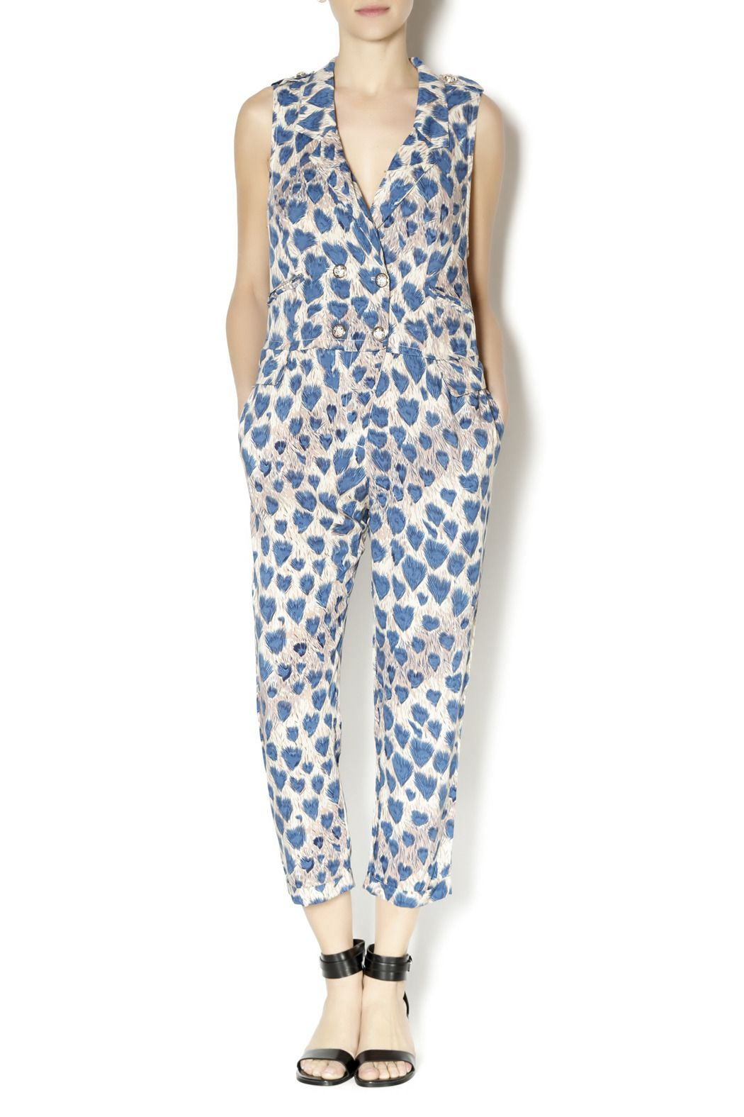 Peacock jumpsuit with a v-neckline and button front closure. Wear this soft jumpsuit all summer with wooden heel sandals.   Peacock Jumpsuit by t.l.b.d.. Clothing - Jumpsuits & Rompers - Jumpsuits Montclair, New Jersey