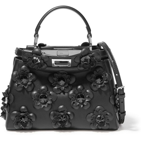 Fendi Peekaboo mini floral-appliquéd leather shoulder bag ( 4,710) ❤ liked  on Polyvore featuring bags, handbags, shoulder bags, bolsas, fendi, black,  ... 8d9c8b48c10