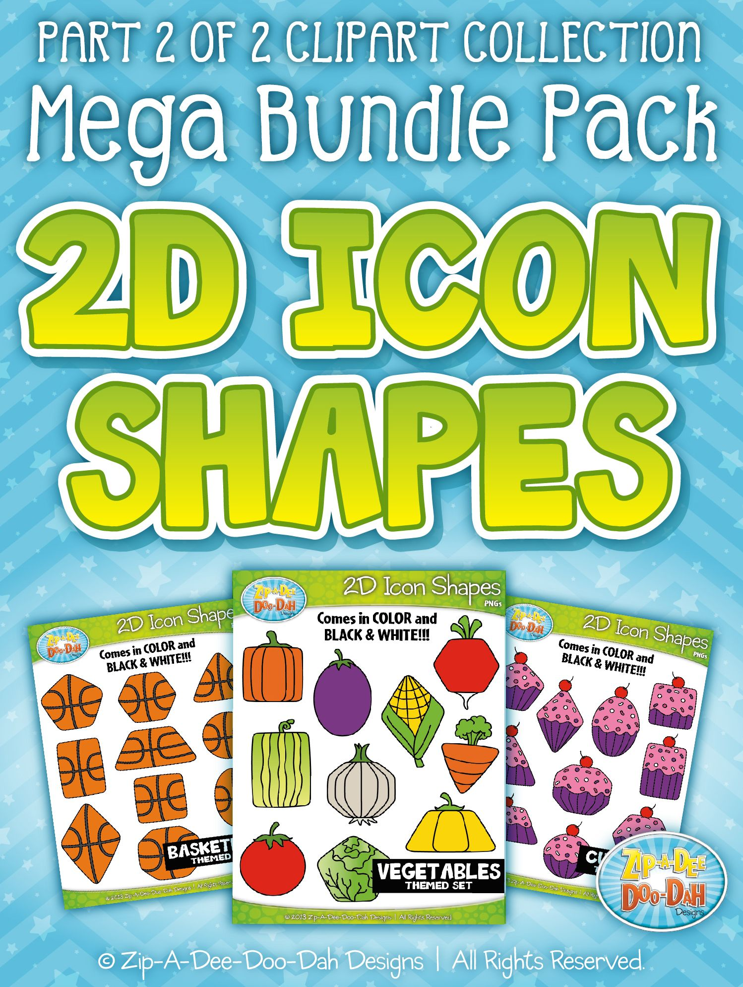 2d Icon Shapes Clipart Mega Bundle Part 2 Zip A Dee Doo