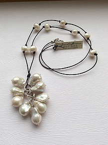 necklace leather crod and pearl dangle - Google Search