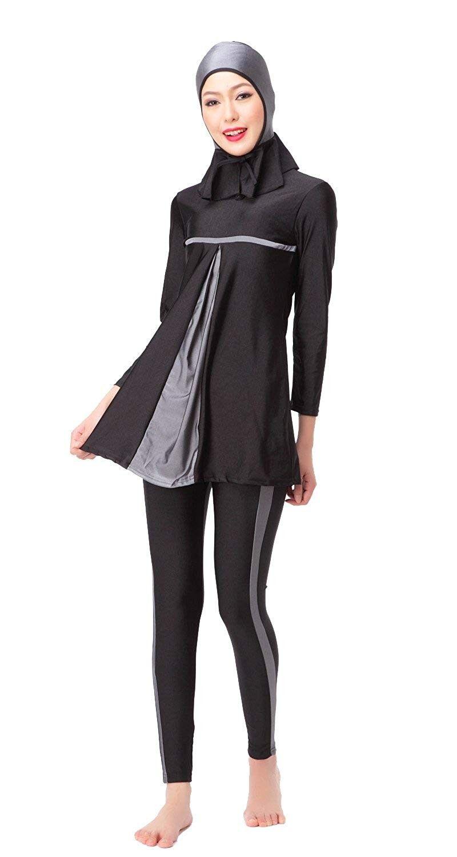 Women's Full Length Long Muslim Islamic Burkini Modest Swimwear - Gray - CI183QA5G4O - Sports & Fitn...