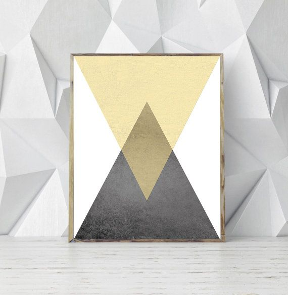 Printable Geometric Art, Yellow Grey Art, Triangle Scandinavian ...