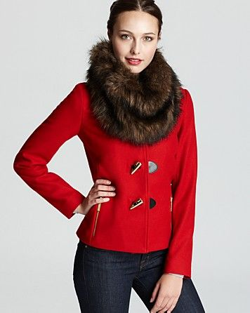 MICHAEL Michael Kors Short Toggle Jacket with Faux Fur Collar | Bloomingdale's  / Welcome Winter to wear This!
