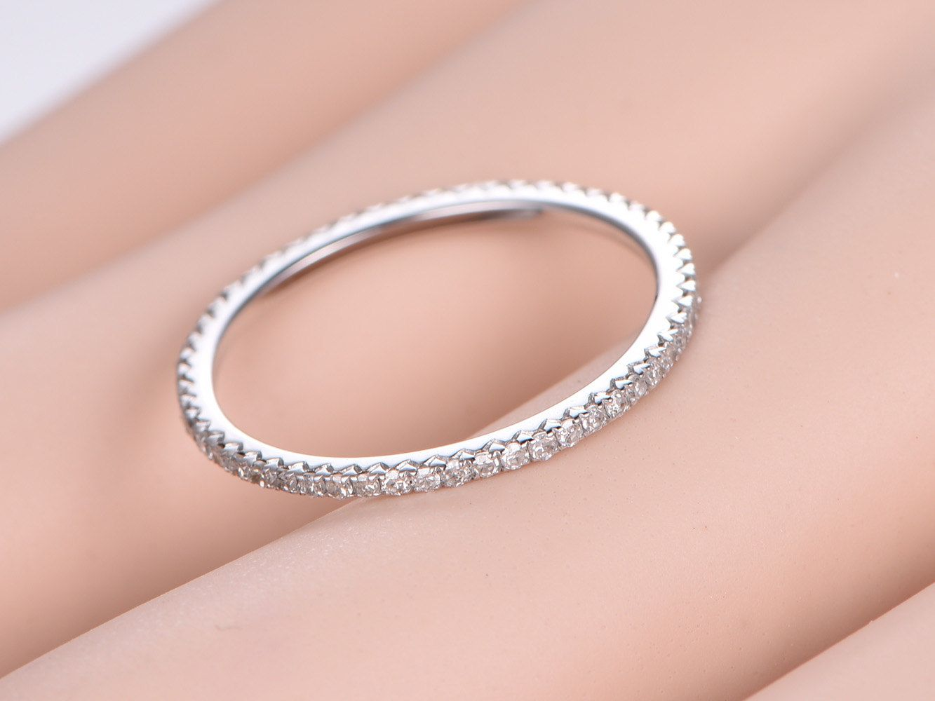 Diamond wedding band FULL eternity ring Petite French V micro pave ...