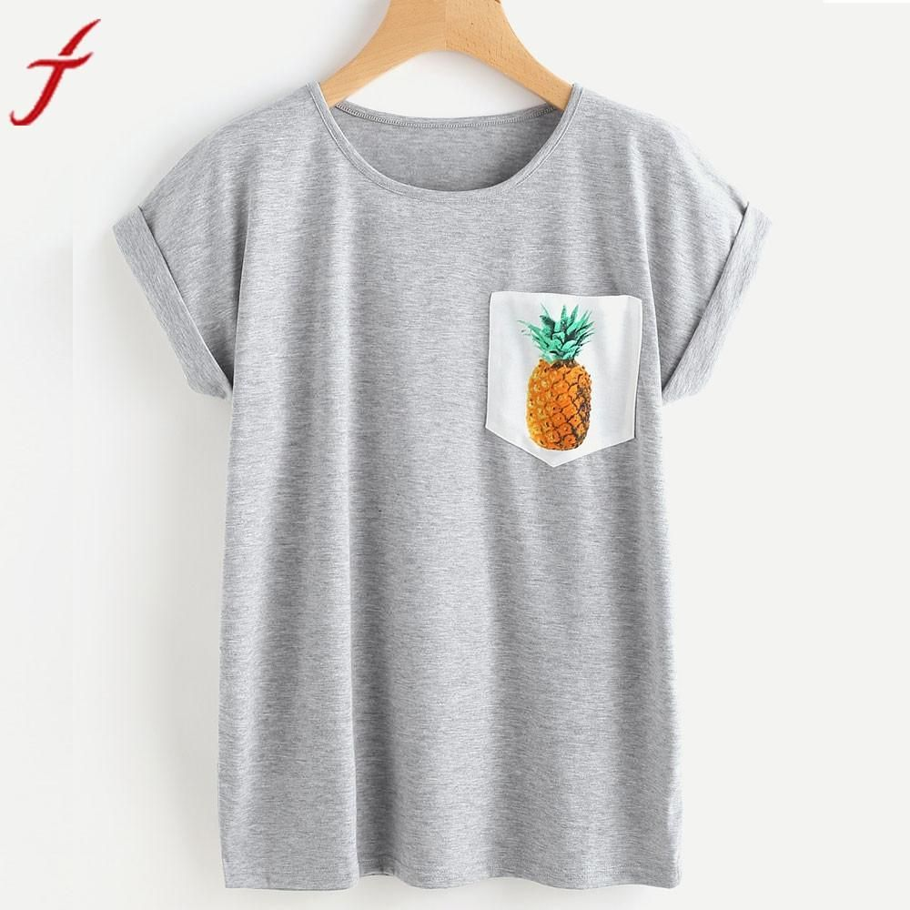 0b205d18eaf31b Space Dye Pineapple Print Cuffed Tee liked on Polyvore featuring