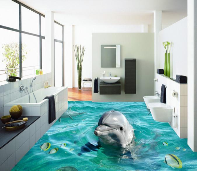 3d Soft Dolphins 111 Floor Mural Aj Wallpaper Floor Murals Mural Flooring