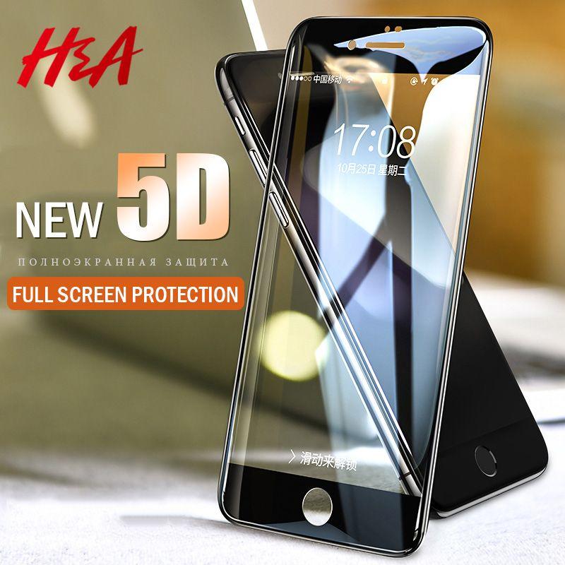 65cbccf8c56 comprar H & A 5d borde de la cubierta completa vidrio templado para el  iPhone 7 8 6 Plus protector de pantalla para iPhone 6 6 S 7 más Películas  protección
