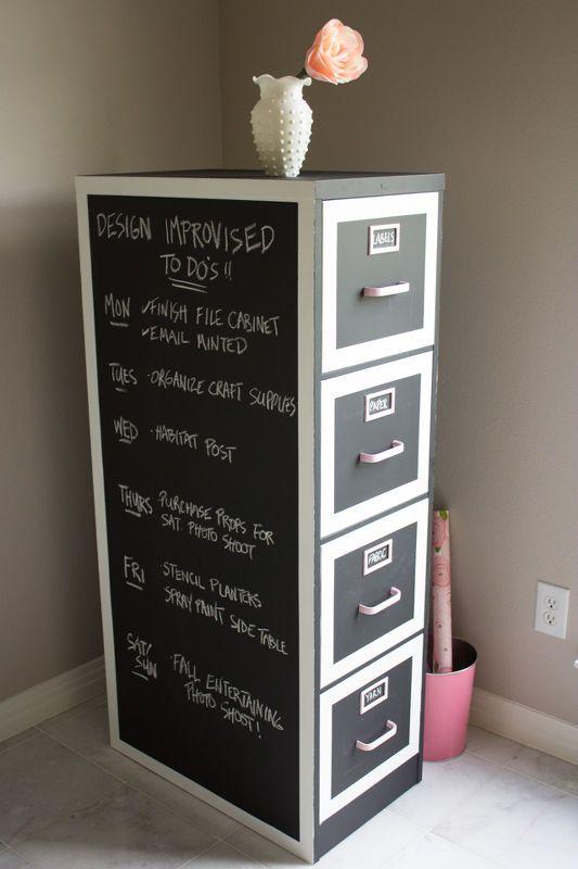 Chalkboard Paint File Cabinet Makeover Diy Craft Room Craft