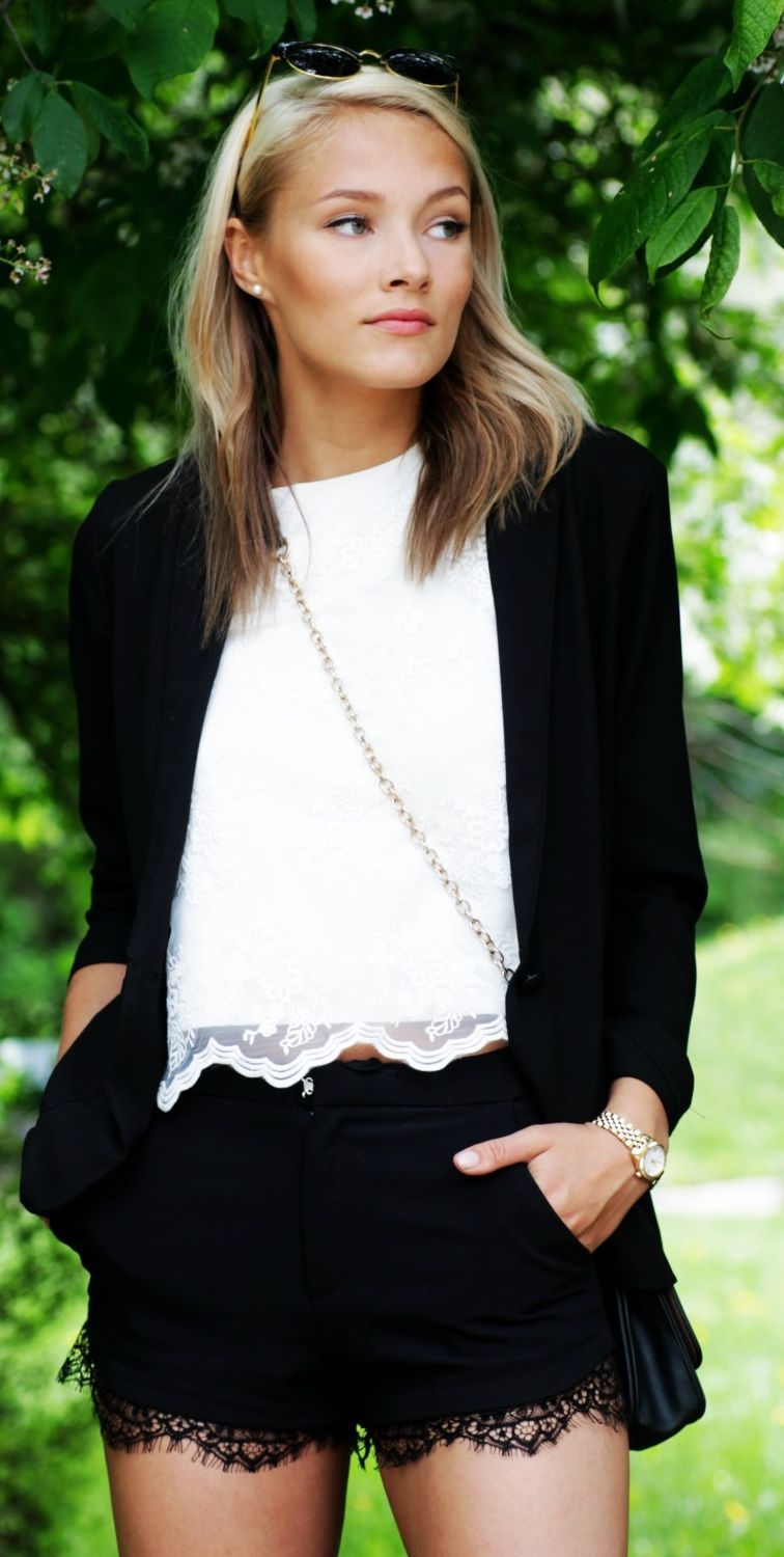 Black And White Lace Outfit by Petra Karlsson
